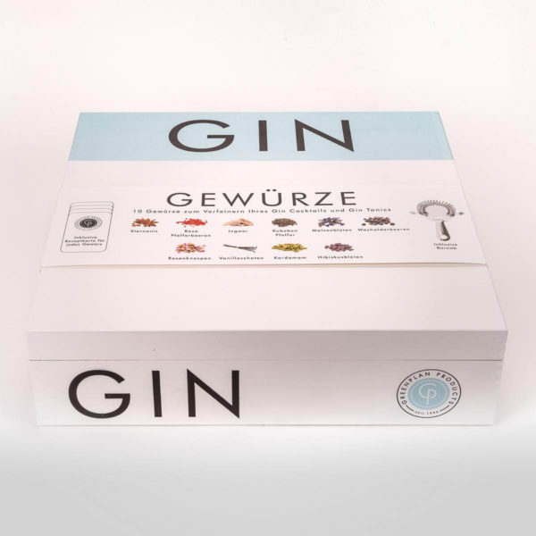 Rezeptkarten Holzbox G&T Set mit Botanicals‎ Gin Botanicals Basic Set 5 Gin Tonic Gewürze Geschenkidee Geschenk für den Mann
