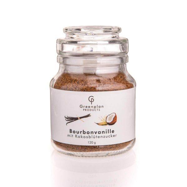 Vanillezucker Bourbon Madagaskar Kokosblütenzucker -150g Glas Vanille Zucker Madagascar mit echter Madagaskar-Vanille