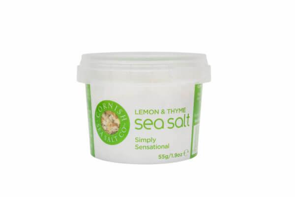 Cornish Sea Salt - Lemon & Thyme 55 g atürliche Meersalzkristalle mit Thymian, Zitronenschale, Knoblauch und Zwiebeln original Meersalz aus Cornwall