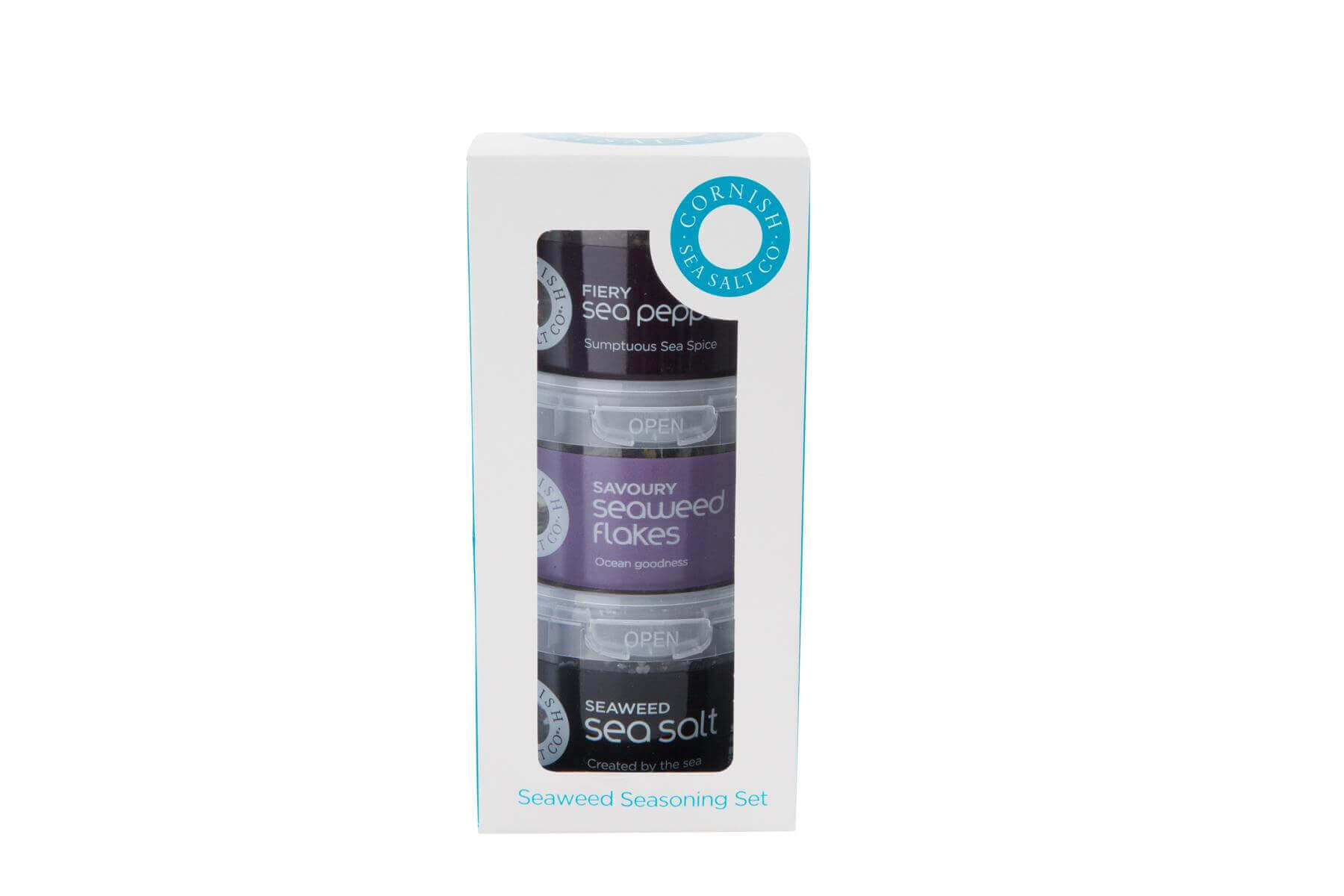 Cornish Sea Salt - Geschenkset- Seaweed sea salt 60g, fiery sea pepper 40g und Savoury seaweed flakes 18g